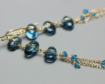 London Blue Topaz Earrings . Blue Topaz Pebble Earrings . Long Chain Earrings .