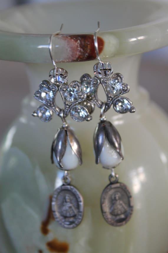 """Dangle Earrings """"Sacred HEART"""" Flower Rhinestones, Pear Pearls assemblage Repurposed,  Art Deco,  Vintage beads, Crystals, Pearls"""
