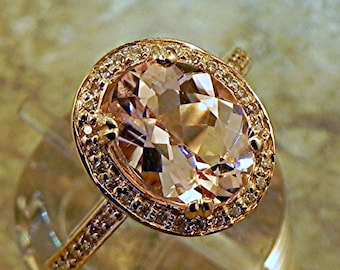 AAA Peach Morganite   10x8mm  2.10 Carats   in a 14k ROSE gold ring with diamonds (.32ct) Ring MMM