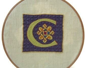 Traditional embroidery kit - Illuminated C