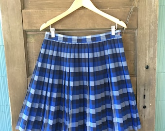 Vintage 80's Blue Plaid Accordion Pleated Longer Fit Genuine Schoolgirl Mini Skirt size large