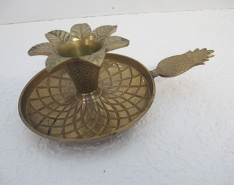 Vintage repeat relief Pineapple design  brass handle chamber candle holder marked Harrison Flower Shop used