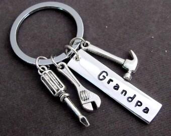 Papy porte-clé, grand-père cadeau, cadeau fête des pères, cadeau de grand-papa, grand-père porte-clé, personnalisé outils porte-clé grand-père, frais de port USA
