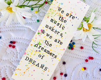 We Are the Music Makers, & We Are the Dreamers or Dreams | Roald Dahl Quote Bookmark