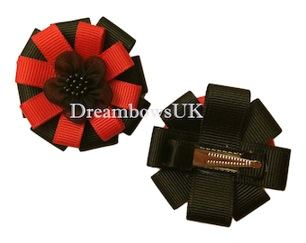 Black and red grosgrain ribbon hair flowers on alligator clips, crocodile clips, girls flower hair accessories, ribbon flowers for girls