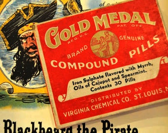 New Old Stock - Gold Medal Compound Pills - 1942 - Distributed by Virginia Chemical Co. St. Louis, MO