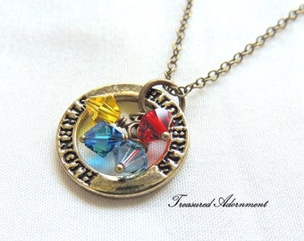 READY TO SHIP, Autism Awareness Necklace, Washer Necklace, Strength, Swarovski Crystals, April, Thank you gift, Autism Mom, Vintage style