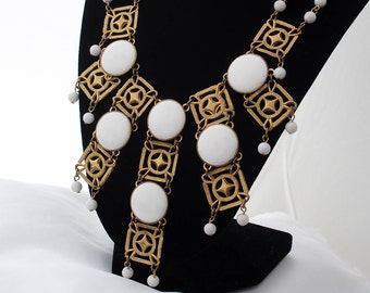 Vintage 1970s Necklace, Gold Tone and White Lucite Necklace, Tribal Style Necklace, Contemporary Style