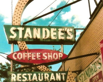 Chicago Photography, Edgewater, Chicago Photo print, Standee's, coffee shop, diner, mid-century vintage neon sign, Chicago Art, red, green