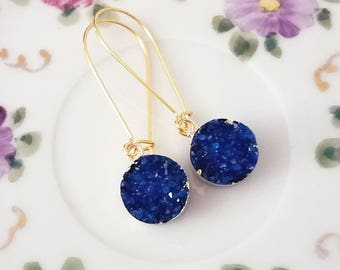 Druzy drop earrings Druzy earrings Blue druzy earrings Druzy dangle earrings Gold druzy earrings Druzy jewelry Bridesmaid earrings Gift