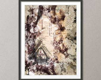 Fine Art Print,  art print  bat, painting art, wall art print, print modern