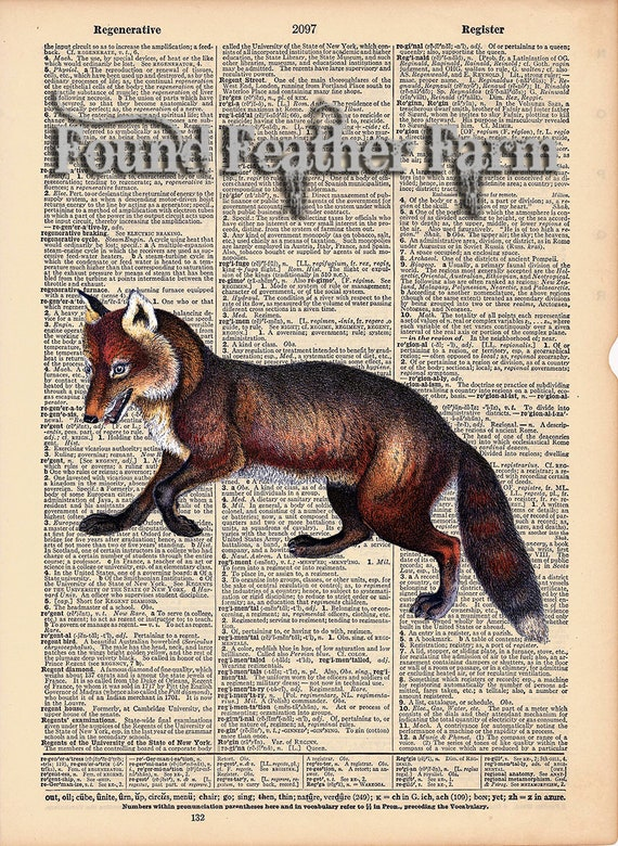 """Vintage Antique Dictionary Page with Antique Print """"Red Fox"""""""