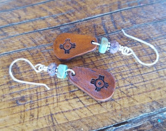 Leather Earrings - Turquoise - Ruby Agate - Zia Symbol - Sterling Silver - Cowgirl Jewelry - Western -Leather Earrings by Heart of a Cowgirl