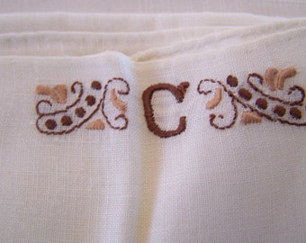 "Vintage 60's ""HAND LOOMED"" Handkerchief In the Initial ""C"" & an All White Hankerchief"