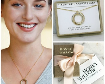 6th anniversary gift for her, 6 year anniversary gift for wife, 6 interlocking rings necklace - Lilia