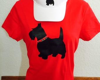 Scottie Dog red v-neck t-shirt. (Hat sold seperately)
