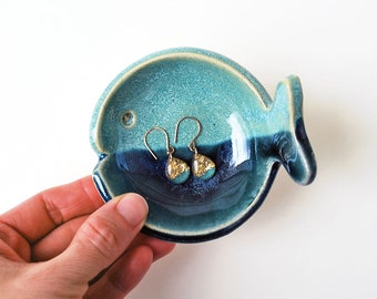 Fish Shaped Ring Bowl, Aqua and Blue, Ceramic, Pottery, Ring Dish, Jewelry Dish, Soy Sauce Dish, Ring Holder - Lauren Sumner Pottery