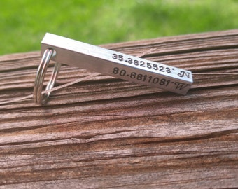 Custom Keychain | Personalized Coordinate Keychain  | Latitude Longitude Location Keychain | Custom Bar Keychain | Coordinates Custom Gift