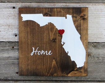 """All States Available, Rustic Hand Painted """"Home State"""" Wood Sign, Florida State Home, Home State Pride - 9.25""""x9.25"""""""