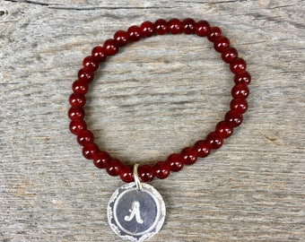 Deep Red Beaded Bracelet, Monogram Bead Bracelet, Red Bracelet, Initial Bracelet, Fall Jewelry, Gift for Her, Graduation Bracelet, Under 15