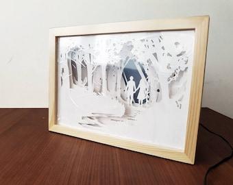 Papercut Night light, Couple romantic lightbox, Night forest papercraft