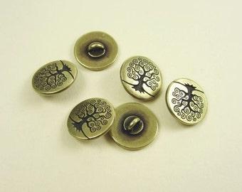 6 Tierracast Brass Oxide Tree of Life Buttons