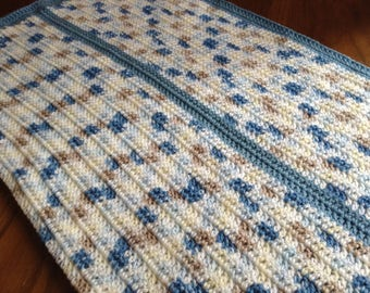 Crochet Blue Variegated Baby blanket, ready to ship, baby shower gift, newborn gift, photo prop, boy, afghan, grandchild, heirloom, striped