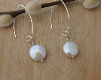 Freshwater pearl and sterling silver fish hook earrings