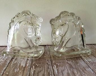 Vintage Horse Bookends, Library Bookends, Federal Glass Co Bookends,  Horse Decor, Western Decor, Ranch Decor