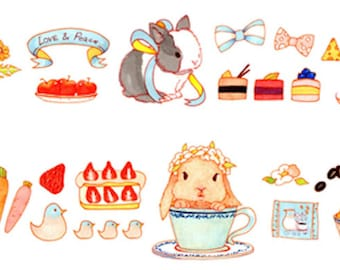 1 Roll Limited Edition Washi Tape:  Cute Rabbit