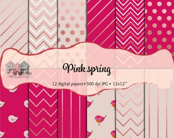 """Pink and lilac digital paper: """"PINK SPRING"""",baby glitter birds, rose gold stripes, zig zag and dots, high resolution printable scrapbooking"""