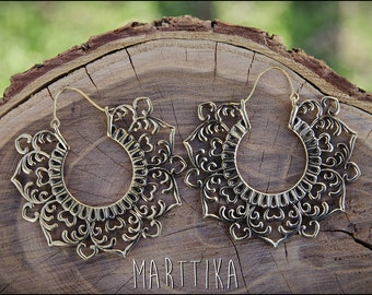 Bronze earrings. Mandala earrings. Tribal Jewelry. Gypsy. Tribal earrings. Boho Jewelry. Brass earrings.