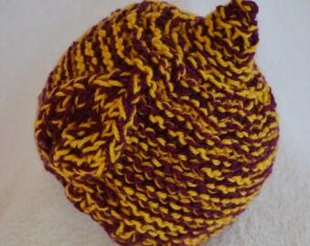 Baby Boys Elf Leaf Pattern Hat,Newborn Beanie,Plum and Mustard Chunky Knit, Photo Prop Hat