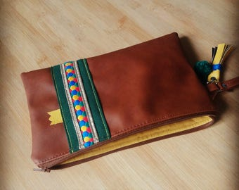 Brown, green, yellow pouch
