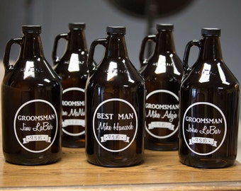 Groomsman beer growlers. Personalized beer growlers. Groomsman gift, Best man gift. Custom craft beer growler. Wedding Gift for home brewer.