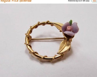 On Sale Vintage Purple Porcelain Floral Circle Pin Item K # 311
