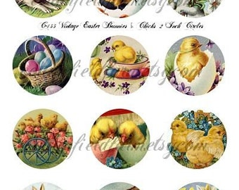Vintage Easter Bunnies and Chicks 2 inch Circles Digital Collage C-155  for Cupcake Toppers,Tags, Scrapbooking, Journaling Spots,  Decoupage