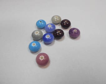10 ceramic beads size 12 mm by 7 mm lot number 5