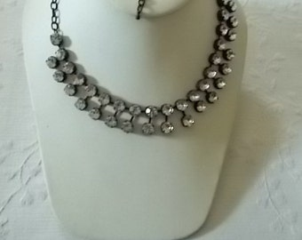 Rhinestone Necklace with black settings and chain.  (334)