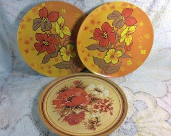 1970s Melamine Plastic Dinner Plates Retro Floral Orange Groovy Maplex Toronto Canada & Maplex melamine   Etsy