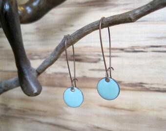 Dangle Earrings, Robins Egg Blue Drop Earrings, Bright Blue Earrings, Copper Enamel Jewelry, Nickel Free Kidney Earwires, Handmade Earrings