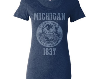 Michigan State Seal Ladies T-shirt. Vintage Style Soft Screenprinted Women's Tee