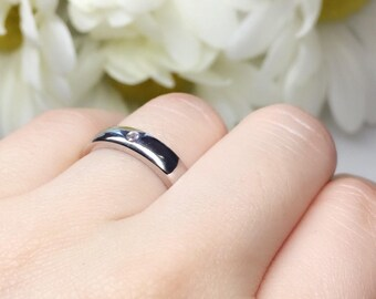 4 Stone Wedding Band, Engagement Bridal Ring, Thick Band, Bezel Setting, AAA Austrian CZ Cubic Zirconia, Sterling Silver, Hand Made