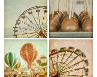 Set Carnaval photographie - art mural lunatique, pastel, - grande roue, ballons à air chaud, pommes au caramel, impressions 4 x 4