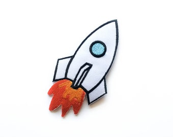 """Space Shuttle Patch - Space Iron-on Patches - Space Craft - Tattoo Appliqué - Embroidery - DIY Denim Jacket - Size 4"""" x 2.25"""" (P098)"""