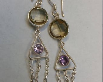 Amethyst and citrine sterling silver dangle earrings