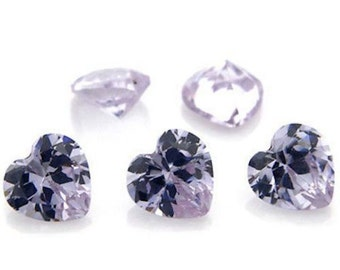Cubic Zirconia Lavender Heart AAA Wholesale Lot Loose Stones (3x3mm - 15x15mm)