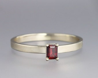 Emerald Cut Red Sapphire Thin Ring in 14k White Gold - Slim Modern Design Prong Setting Ring with Rare Unique Stone - Size 6.5 READY TO SHIP