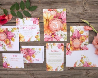 Citrus and Pink Poppy Floral Wedding Theme - SAMPLE - Botanical Illustration - Pink Wedding Invitations and Stationery by Alicia's Infinity