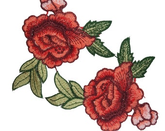 Embroidered Roses Flowers Patches Appliques